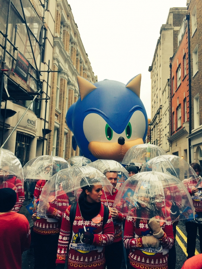 Sonic making an appearance in the Hamleys Toy Parade